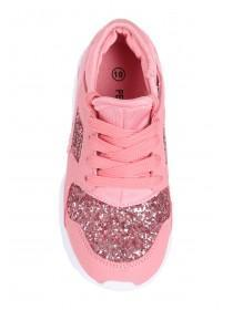 Younger Girls Pink Glitter Trainers