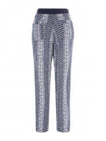 Womens Dark Blue Printed Linen Trousers