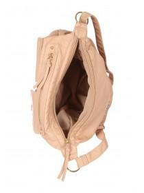 Womens Nude Washed Buckled Messenger Bag