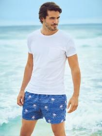 Mens Dark Blue Printed Swimshorts