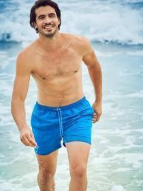 Mens Mid Blue Swim Shorts