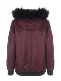 Womens Purple Fur Lined Hooded Parka