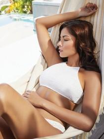 Womens White Crochet Hi-Neck Bikini Top