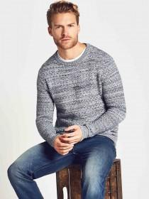 Mens Textured Weave Knitted Jumper