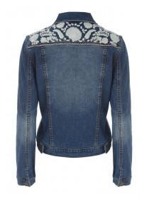 Womens Dark Blue Embroidered Back Denim Jacket