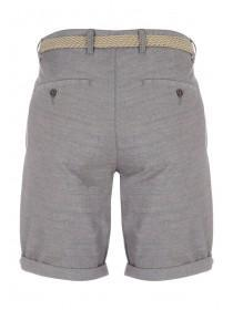 Mens Grey Belted Shorts
