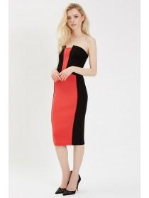 Jane Norman Coral Colourblock Dress