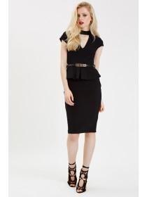 Jane Norman Black Peplum Choker Dress