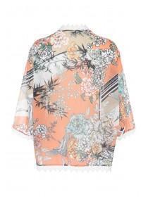 Womens Orange Printed Kimono