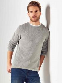 Mens Grey Long Sleeve Knitted Jersey