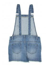 Younger Girls Blue Denim Badged Dungaree Shorts