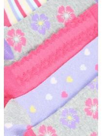 Girls 5PK Pink Pattern Socks