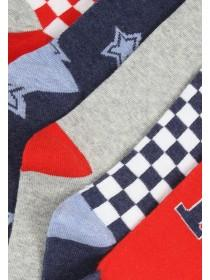 Boys 5pk Red Pattern Socks