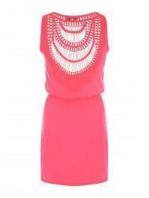 Womens Pink Lace Back Jersey Dress