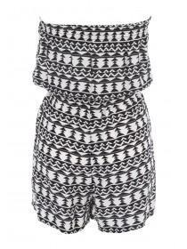 Womens Black Aztec Bandeau Playsuit