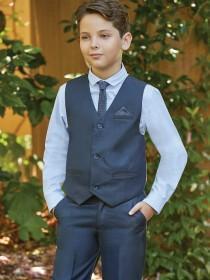 Older Boys Dark Blue 3PC Waistcoat Set