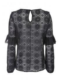Womens Black Lace Ruffle Top