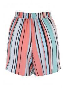 Womens Orange Striped Shorts