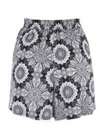Womens Black Tile Viscose Shorts