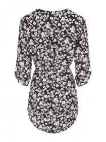 Womens Black Floral Longline Zip Top