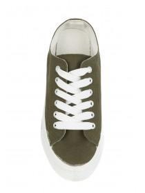 Womens Khaki Casual Lace Up Shoes