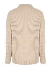 Womens Beige Diamond Cable Knit Jumper