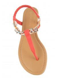 Womens Pink Beaded Trim Toe Thong Sandals