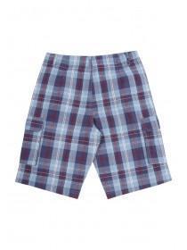 Older Boys Blue Checked Cargo Shorts