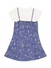 Older Girls Blue 2 in 1 Woven Dress