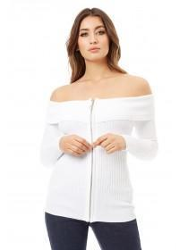 Jane Norman White Bardot Zip Cardigan
