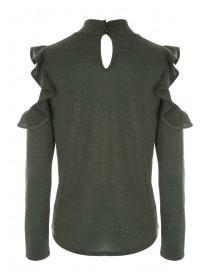 Womens Khaki Cut N Sew Frill Sleeve Top