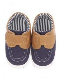 Baby Boys Blue Velcro Nautical Shoes