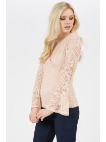 Jane Norman Pale Pink Lace Wrap Top