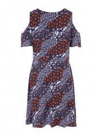 Womens Dark Blue V-Neck Cold Shoulder Dress