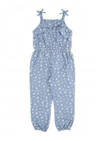 Younger Girls Blue Chambray Ditsy Jumpsuit