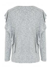 Womens Grey Cosy Frill Top