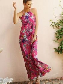 Womens Pink Halter Neck Maxi Dress