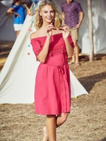 Womens Pink Bardot Dress