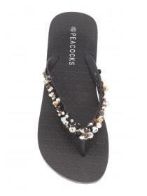 Womens Black Bright Cornet Bead Sandals