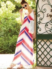 Womens Pink Stripe Maxi Dress