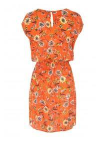 Womens Orange Zip Detail Tunic Dress