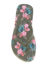 Womens Khaki Plait Print Beach Flip Flops