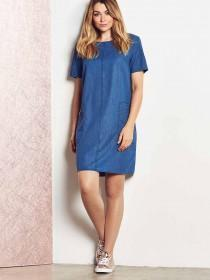 Womens Blue Denim Shift Dress