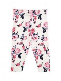 Baby Girls Cream Rose Print Leggings