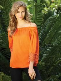 Womens Orange Off Shoulder Lace Top