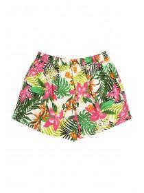 Older Girls White Viscose Floral Shorts