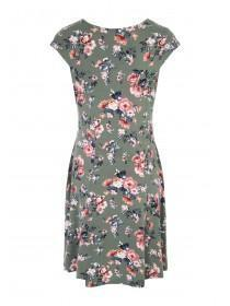 Womens Green Floral Swing Dress