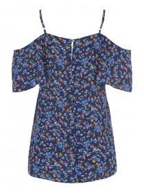 Womens Blue Floral Cold Shoulder Strappy Top