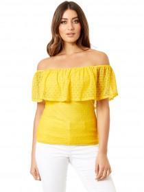 Jane Norman Yellow Lace Ruffle Bardot Top