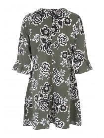 Womens Khaki Woven Shift Dress